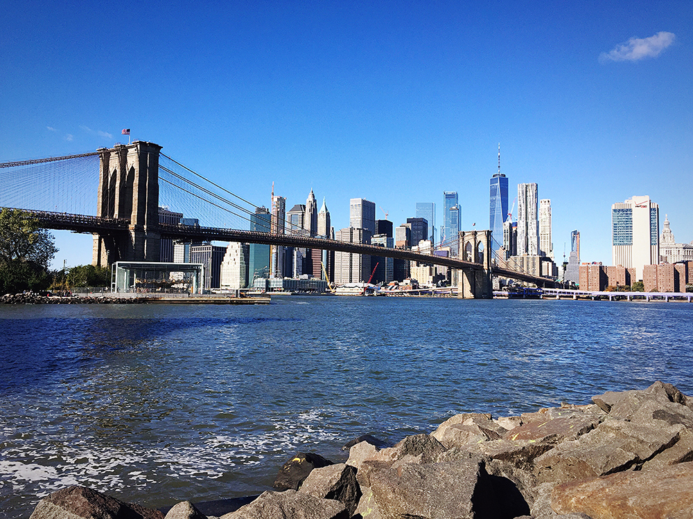 View from Pebble Beach to Brooklyn Bridge and Manhattan.