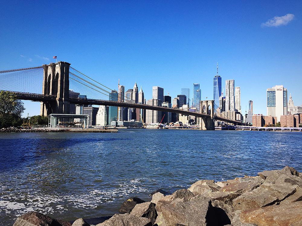 View from Pebble Beach to Brooklyn Bridge and Manhattan.