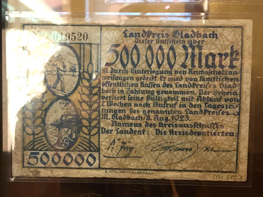 500.000 Mark voucher from the German Reich, 1923.