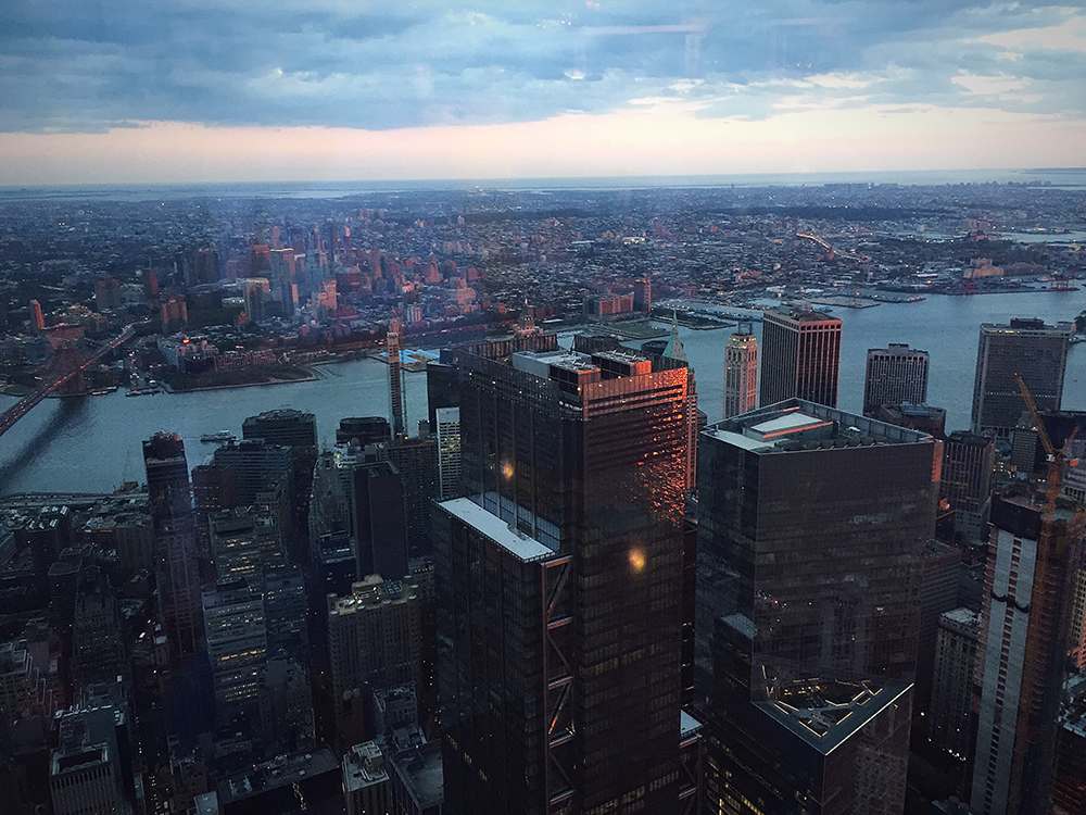 View from the One World Observatory on Manhattan and Hudson River.