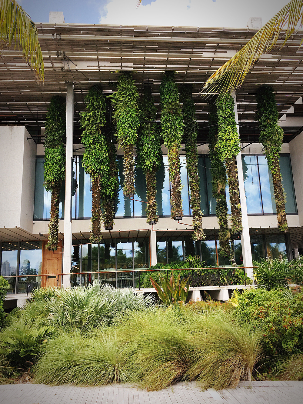 The PAMM from outside with the hanging gardens.